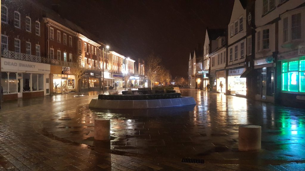 Letchworth town centre at night