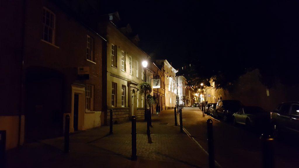 Warwick city streets at night